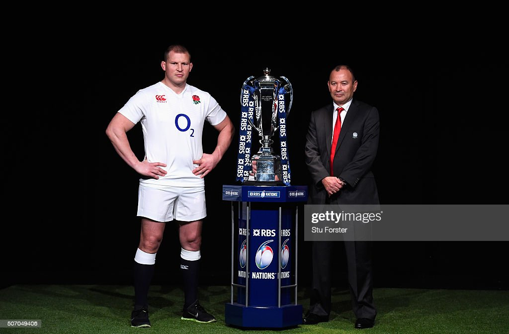 Dylan Hartley, captain of England poses with head coach Eddie Jones and the trophy during the RBS Six Nations launch at The Hurlingham Club on January 27, 2016 in London, England.