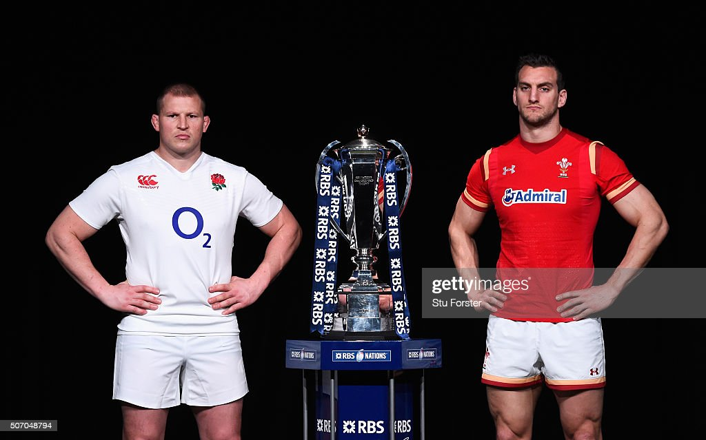 Dylan Hartley, captain of England poses with Sam Warburton, captain of Wales and the trophy during the RBS Six Nations launch at The Hurlingham Club on January 27, 2016 in London, England.