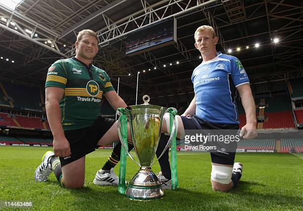 Dylan Hartley, captain of Northampton Saints poses with the Heineken Cup with Leinster captain Leo Cullen at the Millennium Stadium on May 20, 2011...