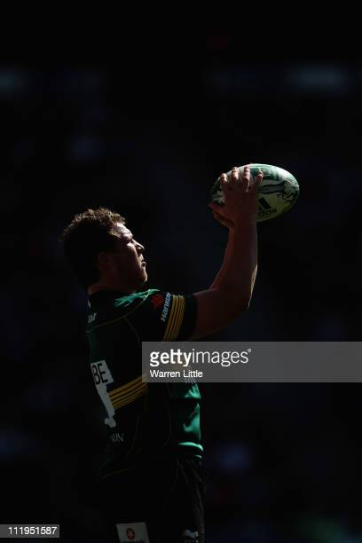 Dylan Hartley Captain of Northampton Saints prepares to throw in during the Heineken Cup Quarter Final match between Northampton Saints and Ulster on...