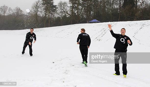 Dylan Hartley Chris Robshaw and Ben Foden throw snowballs as the RFU announce a renewed four year deal with O2 at the Pennyhill Park Hotel on...