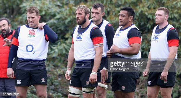 Dylan Hartley Chris Robshaw Zach Mercer Mako Vunipola and Sam Simmonds look on during the England training session held at Pennyhill Park on November...