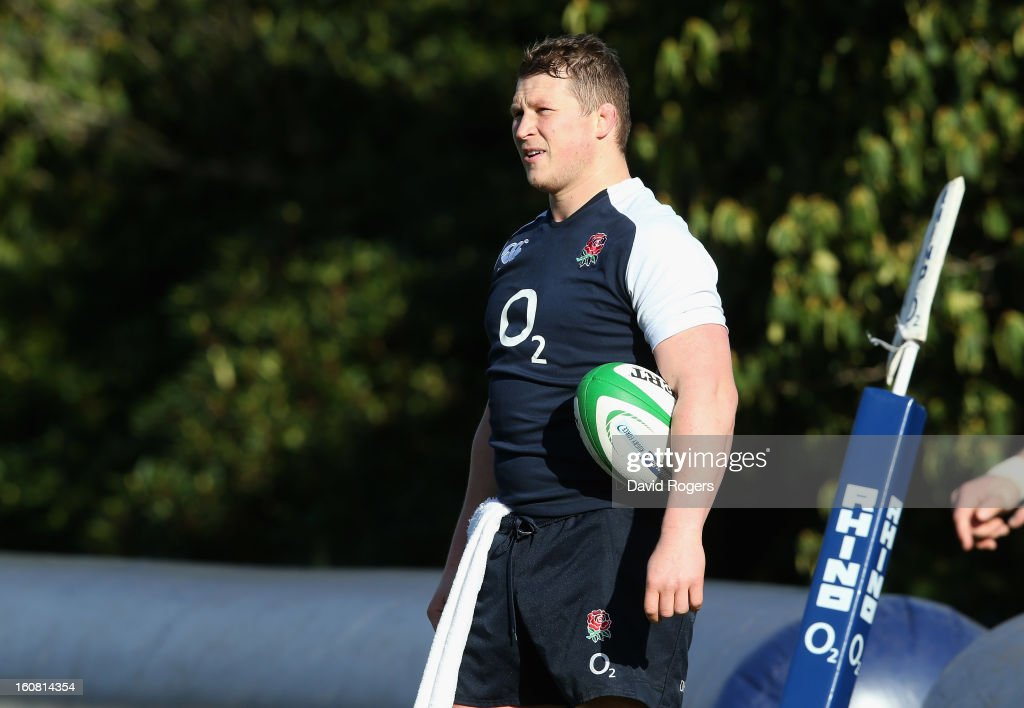 Dylan Hartley looks on during the England training session at Pennyhill Park on February 5, 2013 in Bagshot, England.