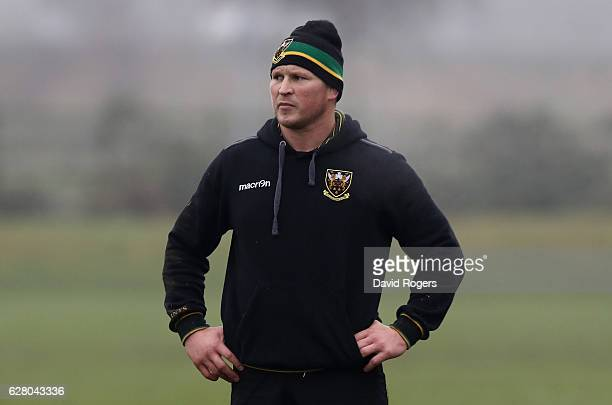 Dylan Hartley looks on during the Northampton Saints training session held at Franklin's Gardens on December 6 2016 in Northampton England