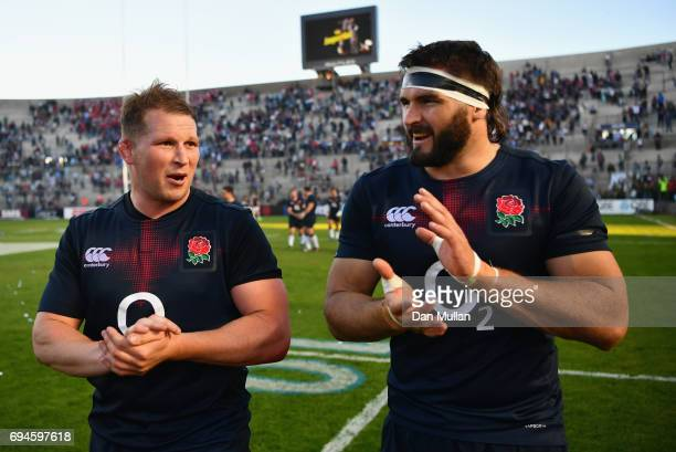 Dylan Hartley of England and Don Armand of England celebrate after the International Test match between Argentina and England at Estadio San Juan del...