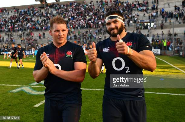 Dylan Hartley of England and Don Armand of England celebrate following the ICBC Cup match between Argentina and England at the Estadio San Juan del...