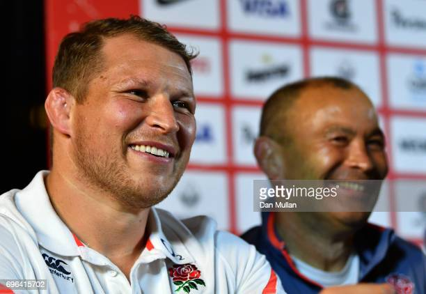 Dylan Hartley of England and Eddie Jones Head Coach of England share a joke during a press conference at the Patio Cervecero on June 15 2017 in Santa...