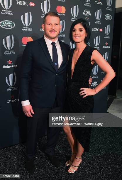 Dylan Hartley of England and his fiancee Joanne Tromans attend the World Rugby via Getty Images Awards 2017 in the Salle des Etoiles at MonteCarlo...