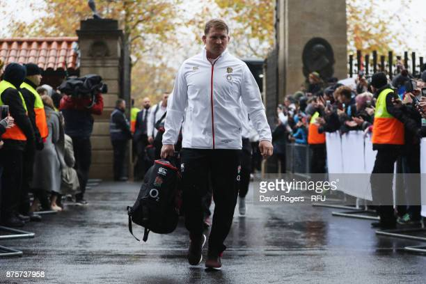 Dylan Hartley of England arrives at the stadium prior to the Old Mutual Wealth Series match between England and Australia at Twickenham Stadium on...