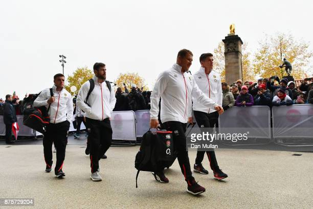 Dylan Hartley of England arrives at the stadium with team mates during the Old Mutual Wealth Series match between England and Australia at Twickenham...