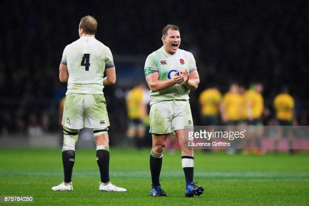 Dylan Hartley of England celebrates England's first try being awarded during the Old Mutual Wealth Series match between England and Australia at...