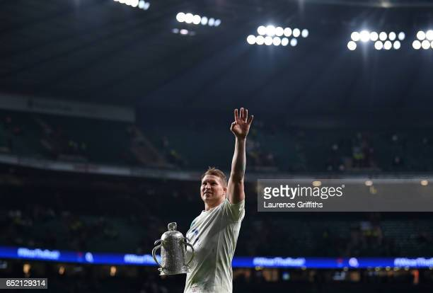 Dylan Hartley of England celebrates with the The Calcutta cup after the RBS Six Nations match between England and Scotland at Twickenham Stadium on...