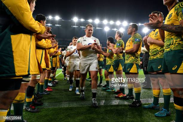 Dylan Hartley of England leads the England players off the pitch while acknowledged by the Australian players after the Quilter International match...