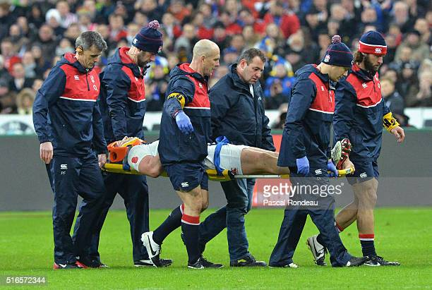 Dylan Hartley of England leaves the field on a stretcher during the RBS Six Nations match between France and England at Stade de France on March 19...