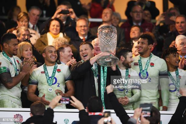 Dylan Hartley of England lifts the Cook Cup after victory in the Old Mutual Wealth Series match between England and Australia at Twickenham Stadium...
