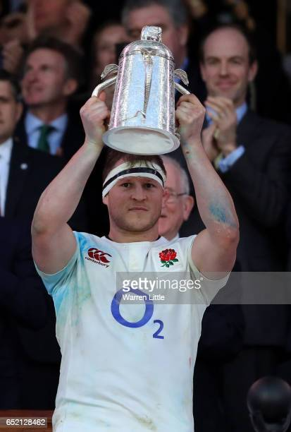 Dylan Hartley of England lifts the The Calcutta cup after the RBS Six Nations match between England and Scotland at Twickenham Stadium on March 11...