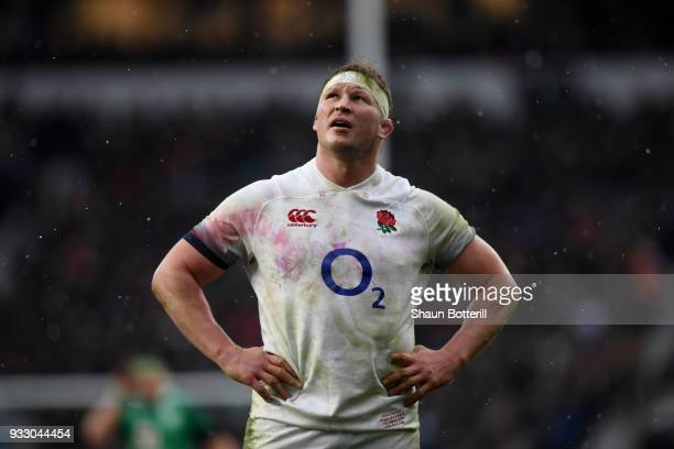 Dylan Hartley of England looks dejected during the NatWest Six Nations match between England and Ireland at Twickenham Stadium on March 17 2018 in...