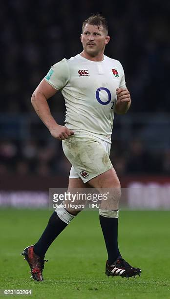 Dylan Hartley of England looks on during the Old Mutual Wealth Series match between England and South Africa at Twickenham Stadium on November 12...