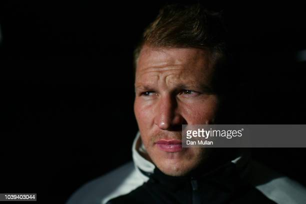 Dylan Hartley of England poses for a portrait following a press conference at the Radisson Hotel on September 24 2018 in Bristol England