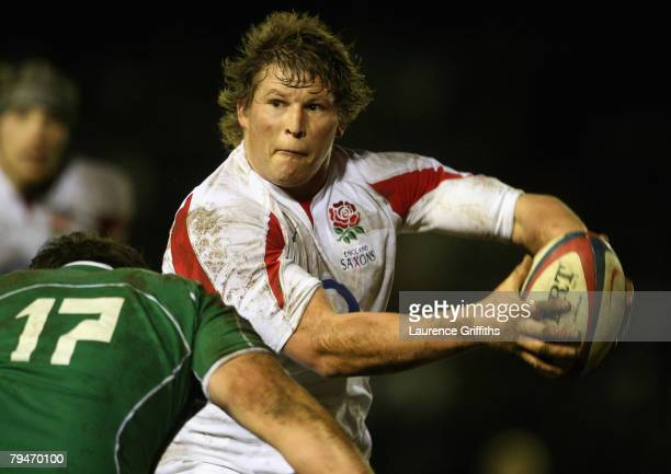 Dylan Hartley of England Saxons passes under pressure from Declan Fitzpatrick of Ireland A during the match between England Saxons and Ireland A at...