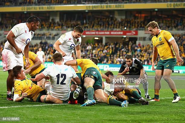 Dylan Hartley of England scores a try during the International Test match between the Australian Wallabies and England at AAMI Park on June 18 2016...