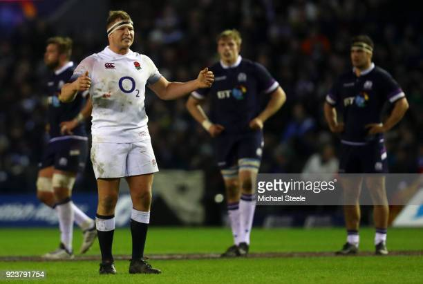 Dylan Hartley of England shows his frustrations during the NatWest Six Nations match between Scotland and England at Murrayfield on February 24 2018...