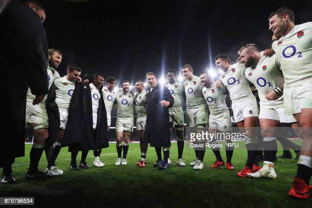Dylan Hartley of England talks to his team during a huddle after the Old Mutual Wealth Series match between England and Australia at Twickenham...