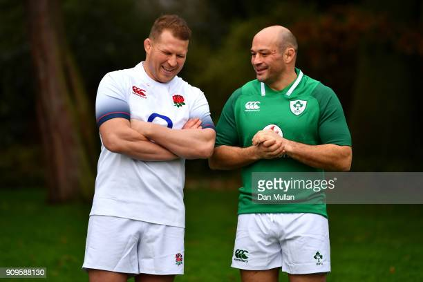 Dylan Hartley of Englandand Rory Best of Ireland during the 6 Nations Launch at the Hitlon on January 24 2018 in London England