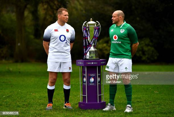Dylan Hartley of Englandand Rory Best of Ireland pose with throphy during the 6 Nations Launch at the Hitlon on January 24 2018 in London England