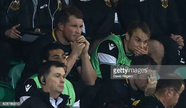 Dylan Hartley of Northampton looks dejected after being shown the red card by referee Jerome Garces during the European Rugby Champions Cup match...