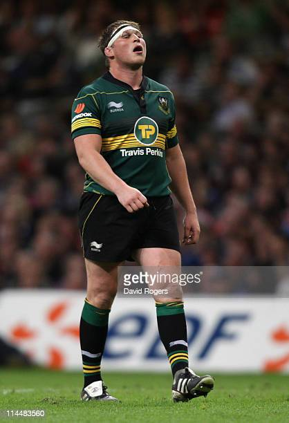 Dylan Hartley of Northampton looks dejected after defeat during the Heineken Cup Final match between Leinster and Northampton Saints at the...
