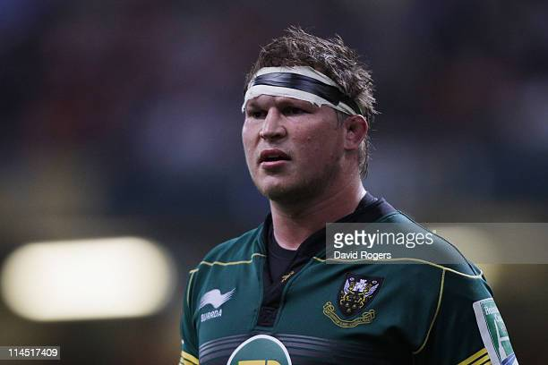 Dylan Hartley of Northampton looks on during the Heineken Cup Final match between Leinster and Northampton Saints at the Millennium Stadium on May...
