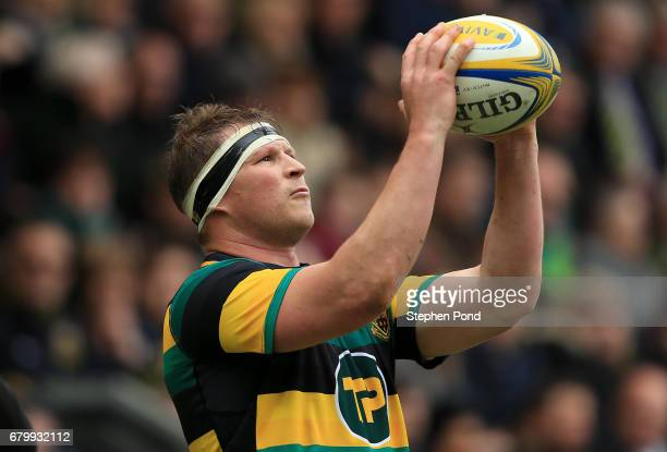 Dylan Hartley of Northampton Saints during the Aviva Premiership match between Northampton Saints and Harlequins at Franklin's Gardens on May 6 2017...