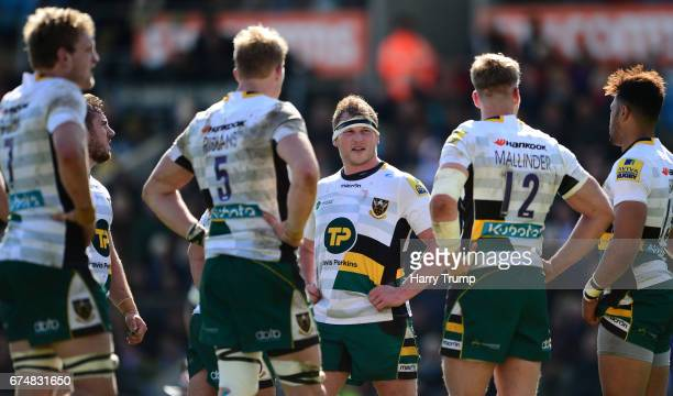 Dylan Hartley of Northampton Saints loosk dejected during the Aviva Premiership match between Exeter Chiefs and Northampton Saints at Sandy Park on...