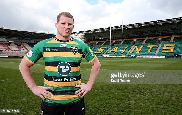 Dylan Hartley of Northampton Saints poses at Franklin's Gardens on April 27 2016 in Northampton England