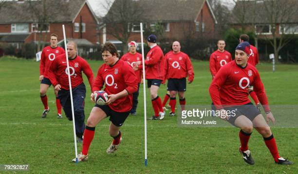 Dylan Hartley of the England Saxons in action during Training at Loughborough University on January 28 2008 in Loughborough England