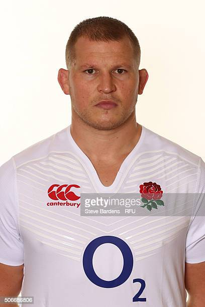 Dylan Hartley poses during the England EPS Six Nations Squad Portrait session at Pennyhill Park on January 25 2016 in Bagshot England