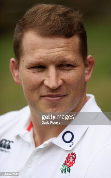 Dylan Hartley the England captain poses during the England media session held at Pennyhill Park on March 16 2017 in Bagshot England