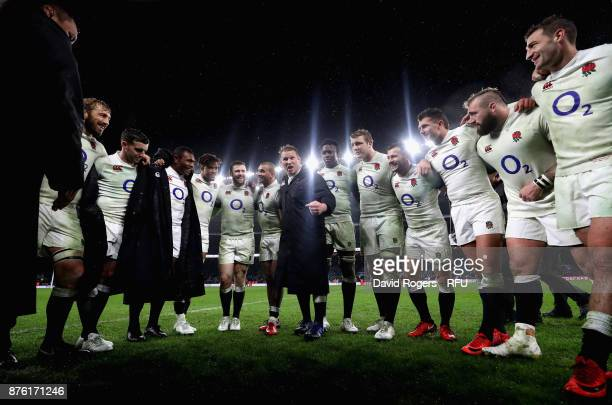 Dylan Hartley the England captain talks to his team after their victory during the Old Mutual Wealth Series international match between England and...