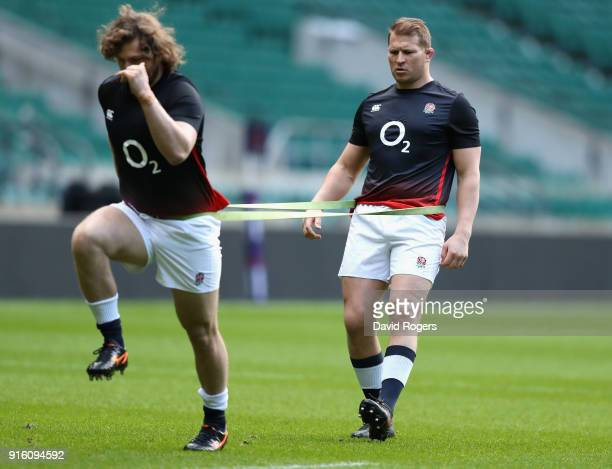 Dylan Hartley the England captain warms up with Alec Hepburn during the England captain's run held at Twickenham Stadium on February 9 2018 in London...