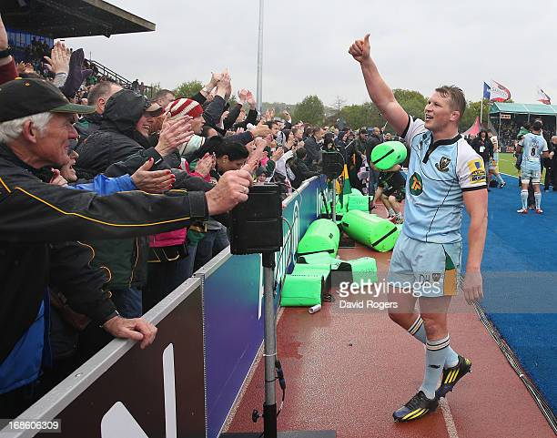 Dylan Hartley, the Northampton captain, celebrates after his teams victory during the Aviva Premiership semi final match between Saracens and...