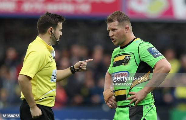 Dylan Hartley the Northampton captain is talked to by referee Ben Whitehouse before being shown the yellow card during the European Rugby Champions...