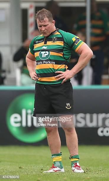 Dylan Hartley the Northampton Saints captain looks on during the Aviva Premiership play off semi final match between Northampton Saints and Saracens...
