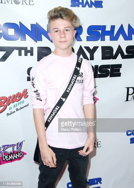 Dylan Hartman arrives at Conner Shane's Birthday Bash on April 1 2019 in Sherman Oaks California