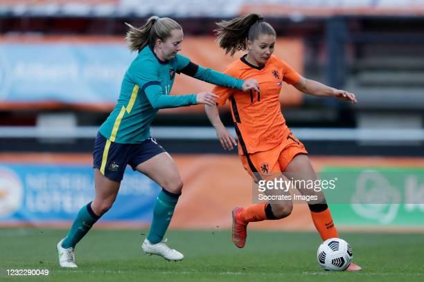 Dylan Holmes of Australia Women, Lieke Martens of Holland Women during the International Friendly Women match between Holland v Australia at the...