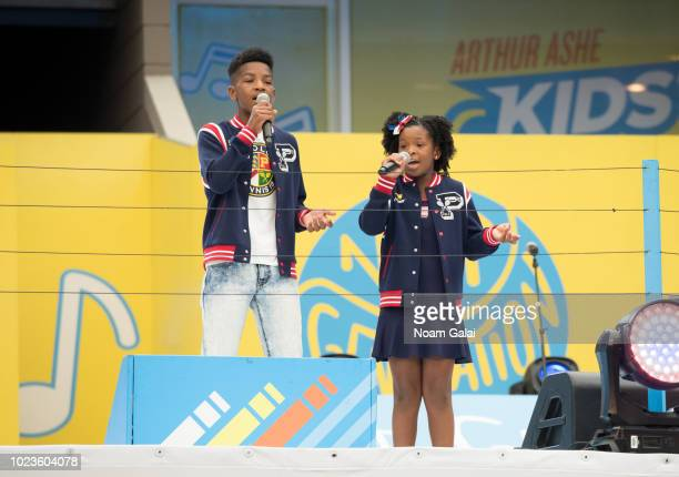 Dylan Humphrey and Denver Humphrey perform at the 2018 Arthur Ashe Kids' Day at USTA Billie Jean King National Tennis Center on August 25 2018 in New...