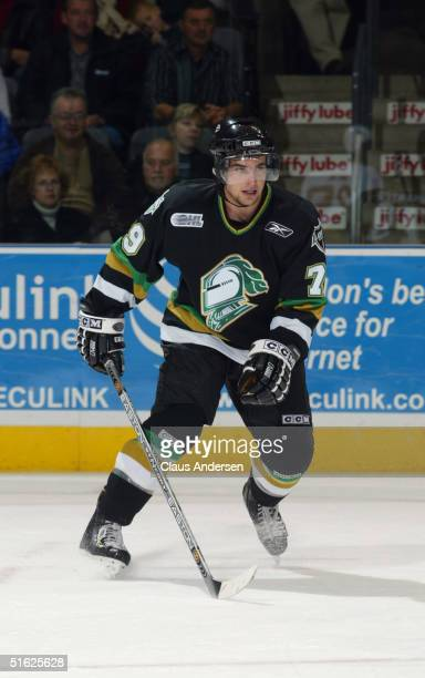 Dylan Hunter of the London Knights skates during a game against the Sault Ste. Marie Greyhounds at the John Labatt Center on October 16, 2004 in...