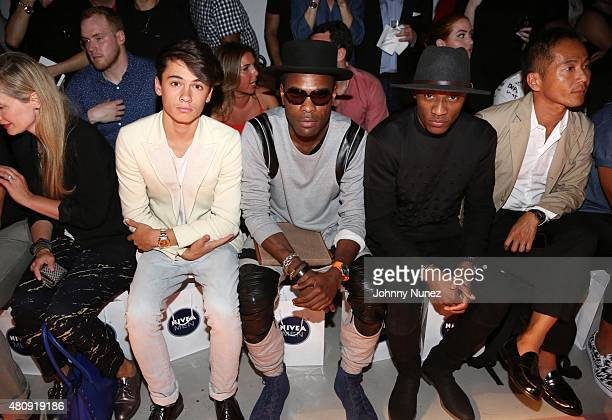Dylan J Lee and GQ Insider Style director Keino Benjamin front row at the Grungy Gentleman fashion show at The Supermarket during New York Fashion...