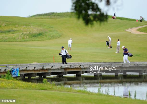Dylan Jackson left of CSUMontrey Bay and Trey Sullivan of Abilene Christian University cross the bridge to the 9th green during the Division II Men's...