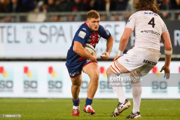 Dylan JACQUOT of Grenoble and Phoenix Damon BATTYE of Oyonnax during the Pro D2 match between Grenoble and Oyonnax at Stade des Alpes on December 19,...
